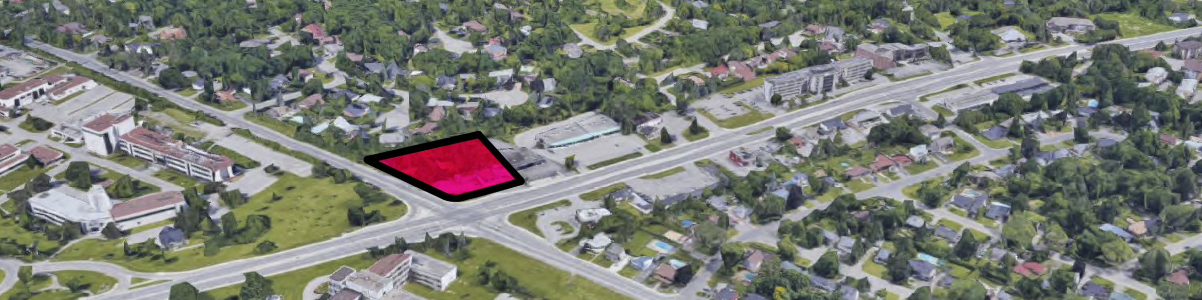 Site of proposed 26-storey tower at NE Corner of Blair and Montreal Roads